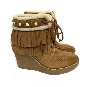 Sam Edelman Brown Fringed Wedge Ankle Boots
